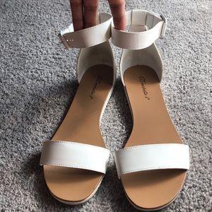 White- Ankel Strap, Open Toe Leatherette Sandals